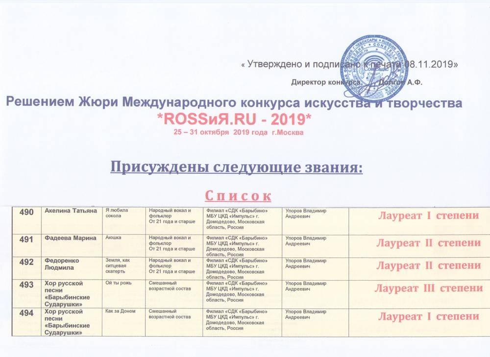 Поздравляем хор русской песни «Барыбинские сударушки»